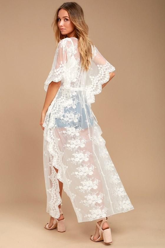 38ba1d5339 Stunning White Kimono Top - Lace Kimono Top - Long Kimono Top