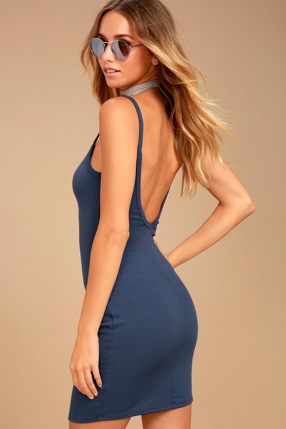 c7e2a725e2 Sexy Denim Blue Dress - Bodycon Dress - Ribbed Knit Dress - V-Back Dress
