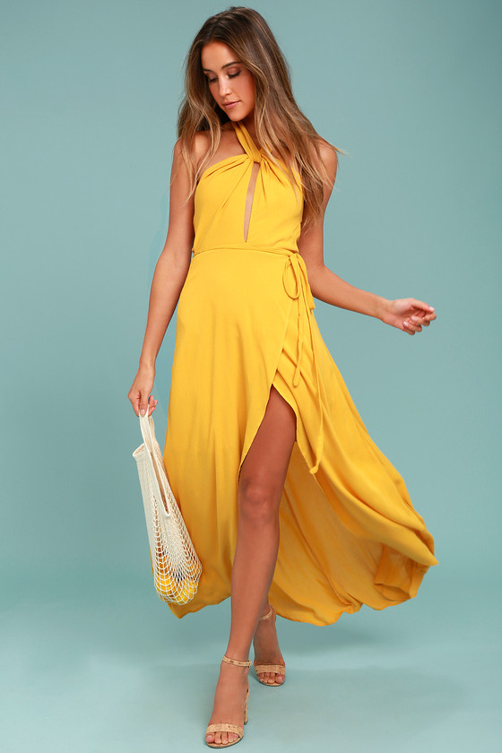 076598bf2b Golden Yellow Wrap Dress - Halter Dress - High-Low Dress