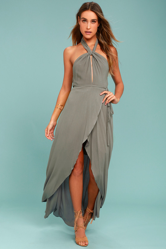Marisha Washed Olive Green Halter Wrap Dress 7