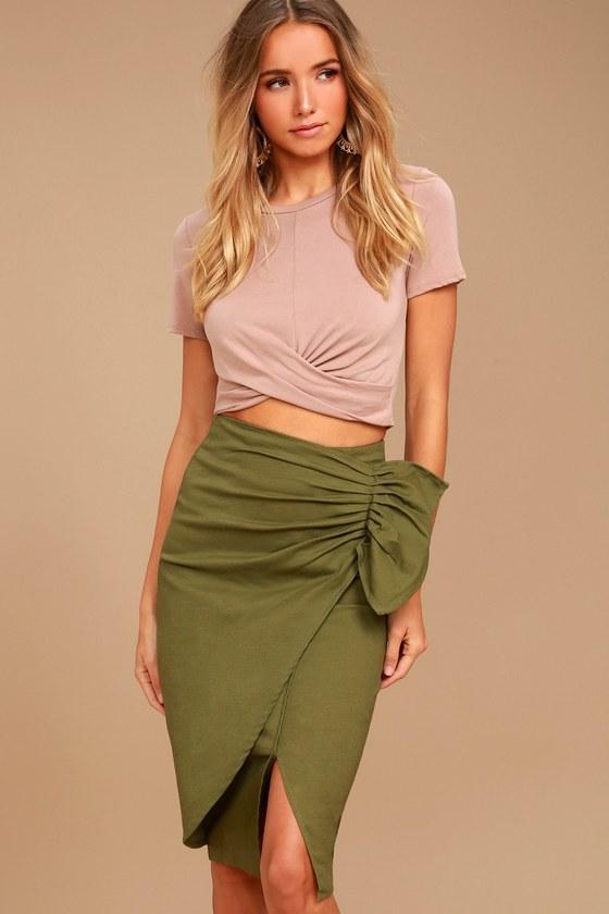 J.O.A. Skirt - Olive Green Skirt - Midi Skirt - Wrap Skirt ...