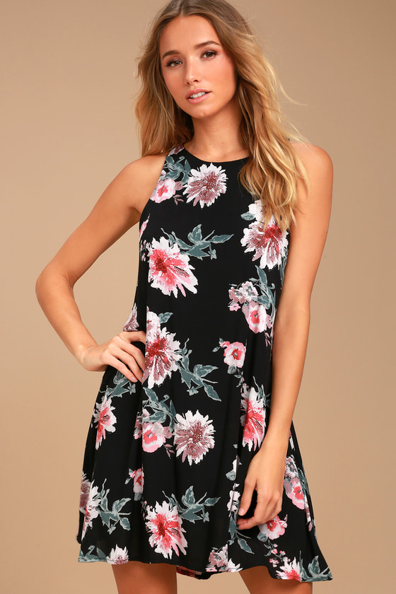 Walk This Sway Black Floral Print Swing Dress 2