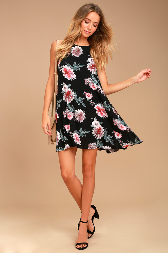 354ba5e94d0795 Cute Black Floral Print Dress - Swing Dress - Sleeveless Dress
