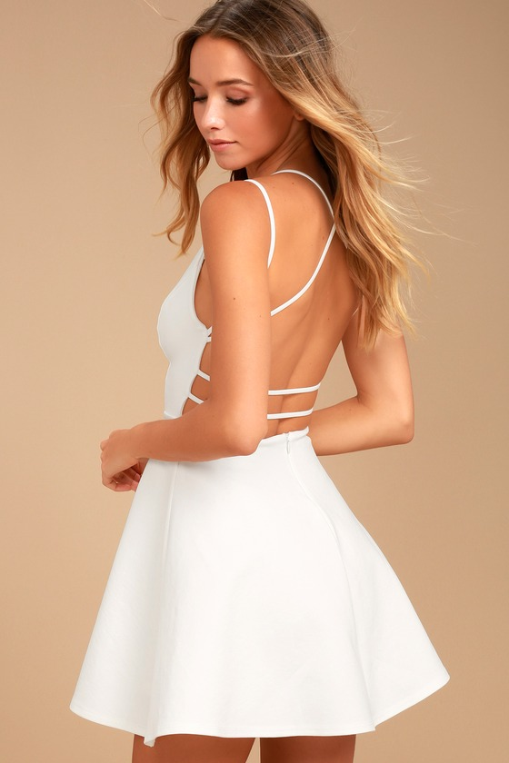 a042ba5bf6 Sexy White Dress - LWD - Backless Dress - Backless Skater Dress