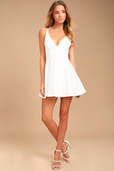 b4c07c7d9652 Sexy White Dress - LWD - Backless Dress - Backless Skater Dress