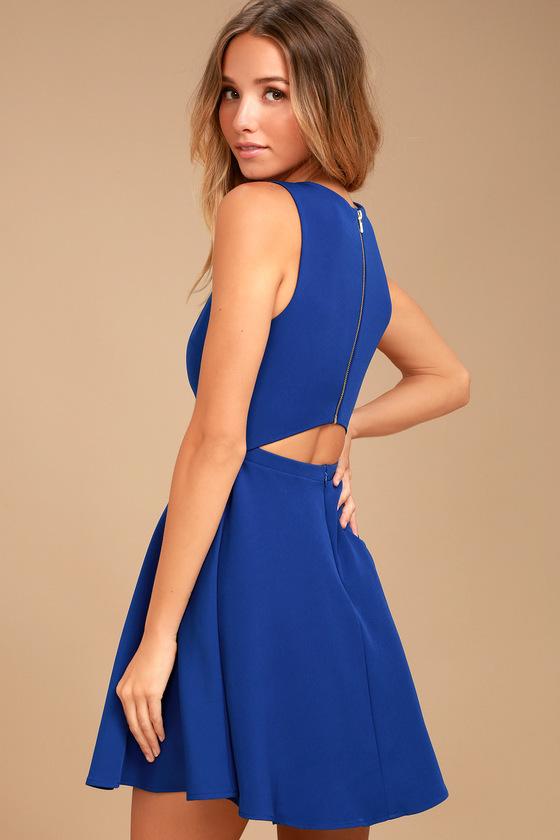 Just Us Royal Blue Skater Dress 2