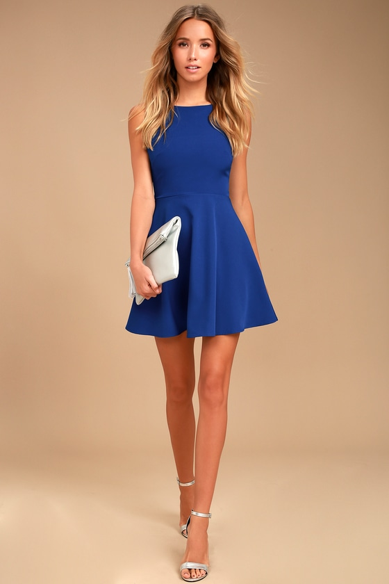 0363839bddd4 Cute Royal Blue Dress - Cutout Skater Dress - Sleeveless Dress