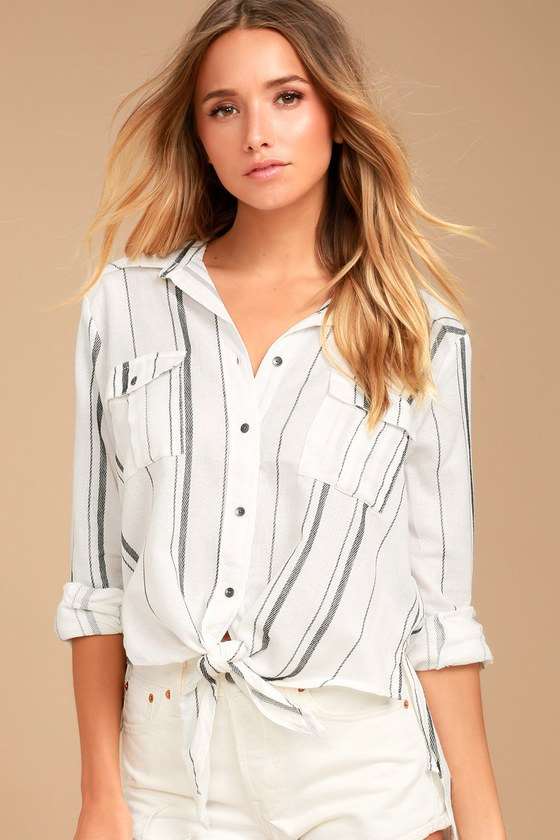 Billabong Meadow Swing Black and White Striped Button-Up Top 3