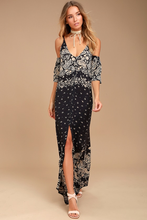 Billabong Desert Dance Washed Black Print Maxi Dress 1