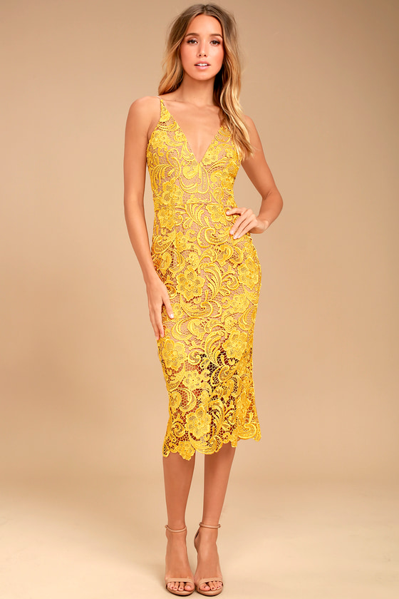 Dress The Population Marie Yellow Lace Dress Midi Dress