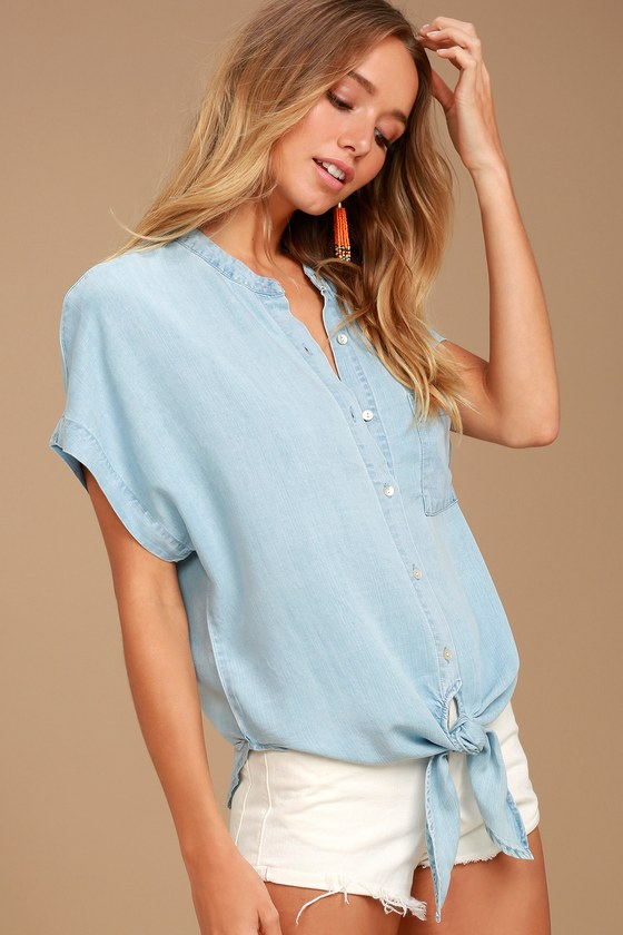 My Sweet Love Light Blue Chambray Top 1