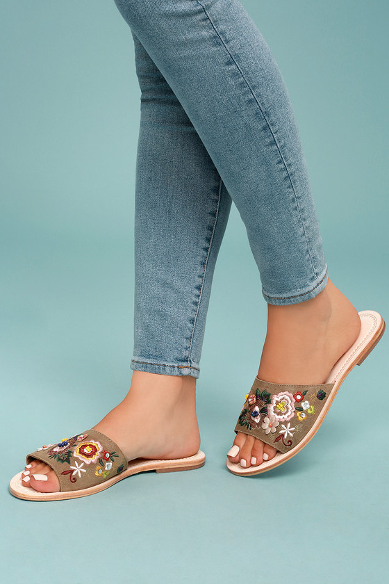 Seychelles Under Control Tan Leather Embroidered Slide Sandals 4