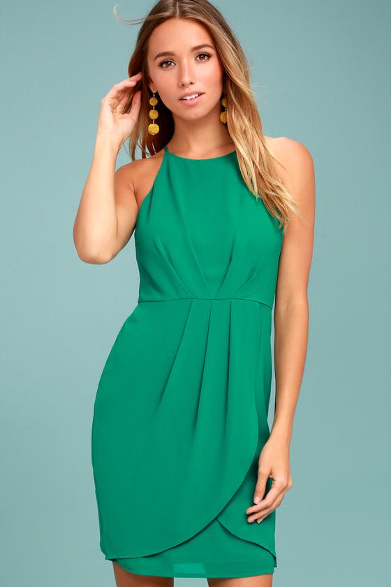 82f4e6408ea Chic Teal Green Dress - Sheath Dress - Sleeveless Dress - Tulip Dress