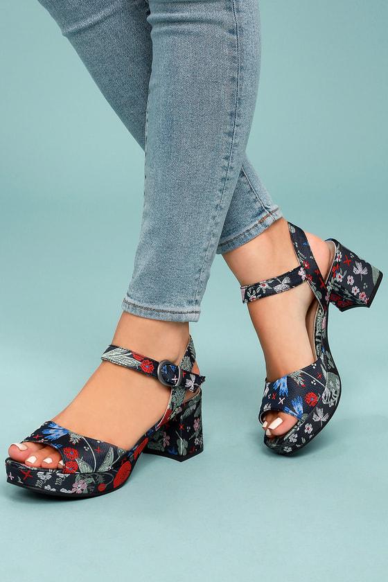 fe87ca7a67e1 CL By Laundry Kensie - Block Heels - Brocade Heels - Blue Platform Heels