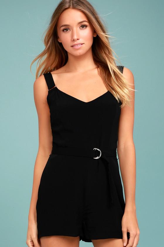ad442393a433 Cute Black Romper - Belted Romper - Sleeveless Romper