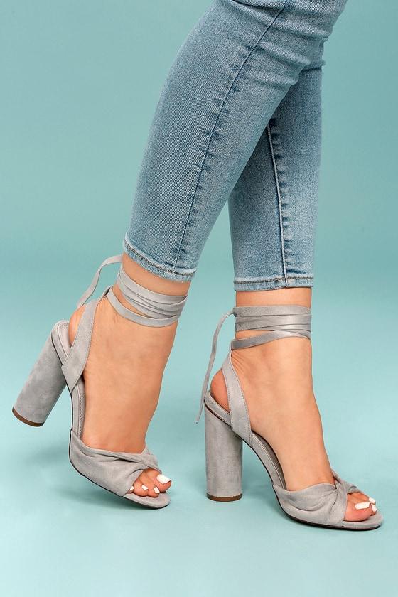 Rumer Grey Suede Lace-Up Heels 1