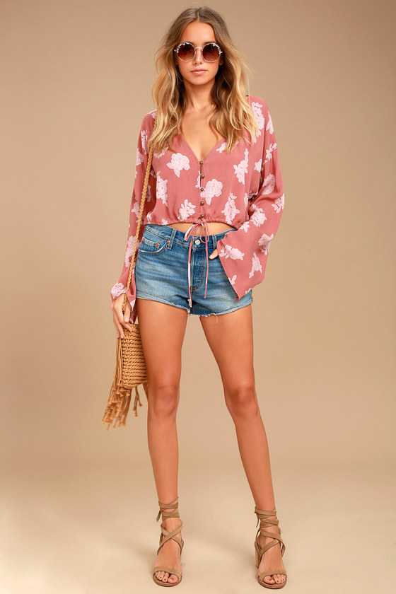 Cute Rusty Rose Floral Print Top - Crop Top - Long Sleeve ...