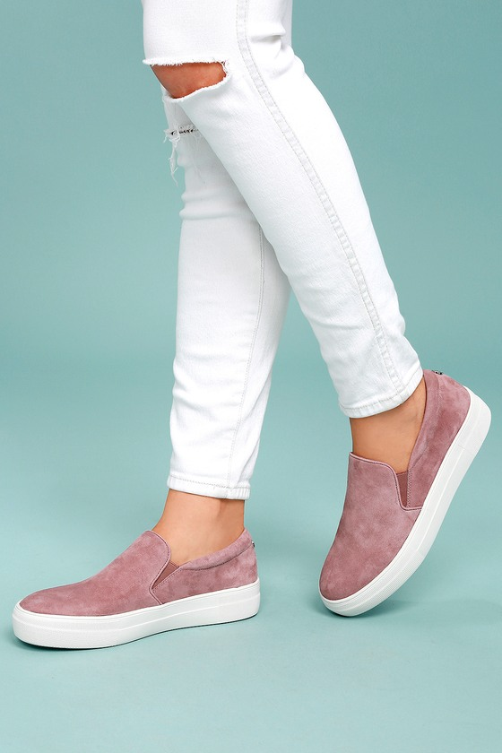 e591329ea66 Steve Madden Gills Sneakers - Mauve Suede Sneakers - Leather ...