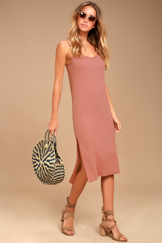 Billabong Great News Blush Pink Midi Dress 1