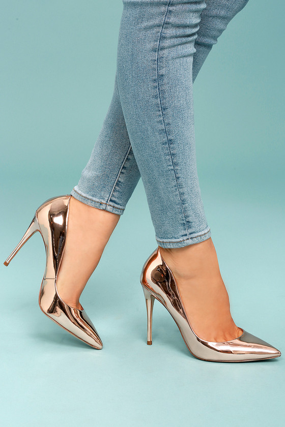 Steve Madden Daisie Rose Gold Patent Pumps 4