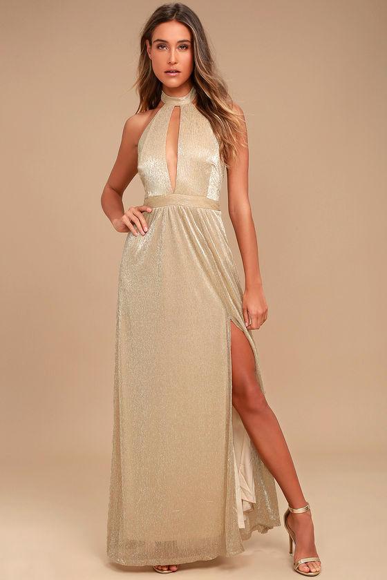 8a98c0ddc574 Stunning Gold Maxi Dress - Halter Maxi Dress - Shimmery Maxi Dress ...
