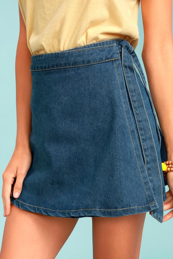 Sage the Label Rosamund Medium Wash Denim Wrap Mini Skirt 1