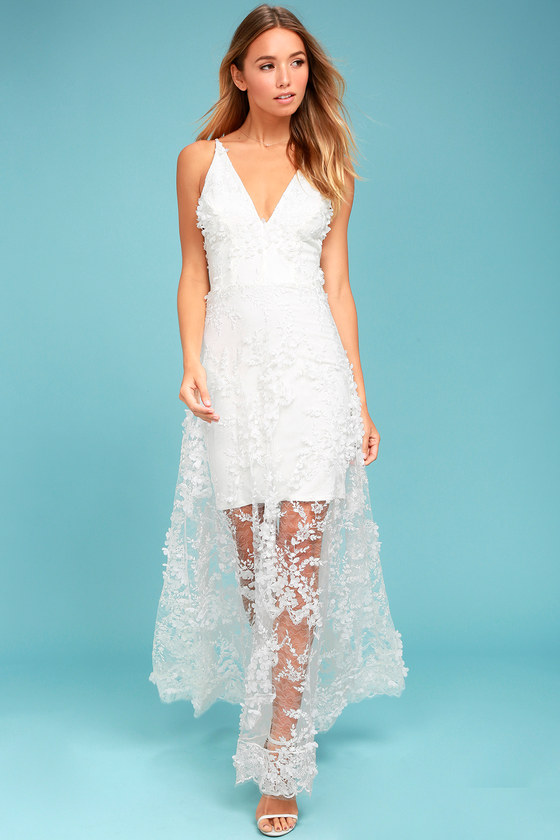 Dress the Population Sidney White Embroidered Maxi Dress 1