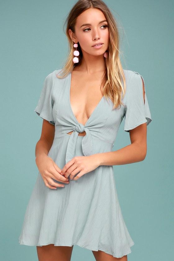 df3f8e2caf1a Cute Light Blue Dress - Skater Dress - Tying Cutout Dress - Short Sleeve  Dress