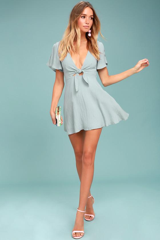 0a4fe36b98 Cute Light Blue Dress - Skater Dress - Tying Cutout Dress - Short ...