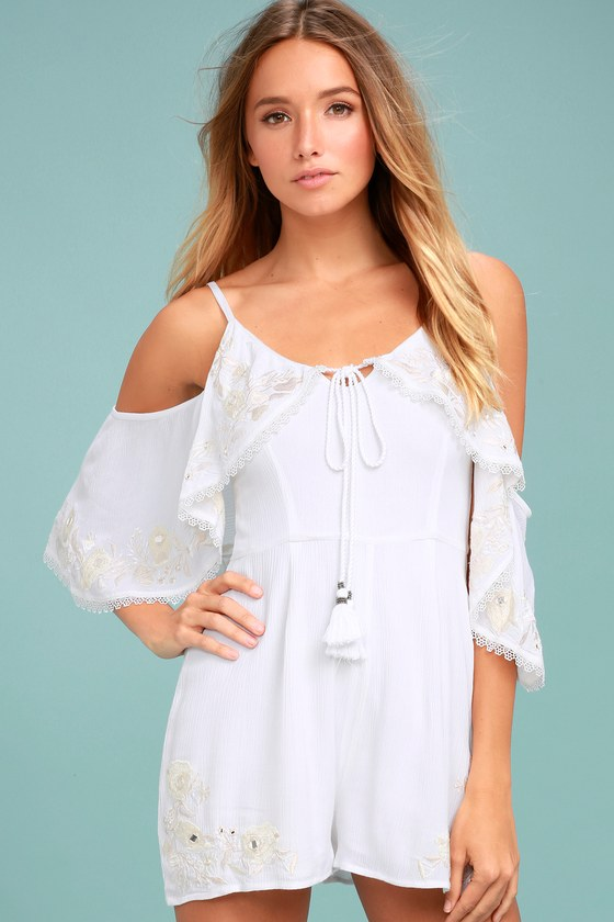 Rahi Cali Dreamer White Embroidered Off-the-Shoulder Romper 2