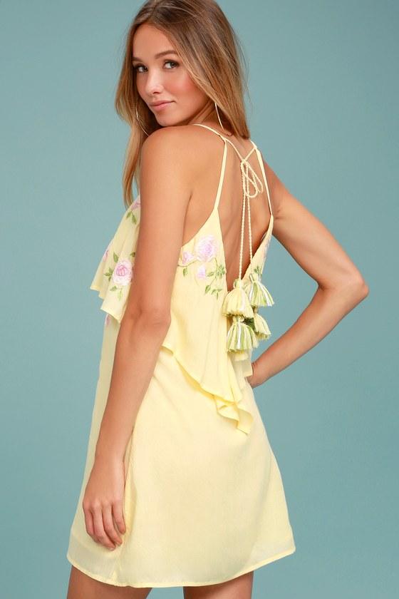 Rahi Cali Delilah Yellow Embroidered Swing Dress 2