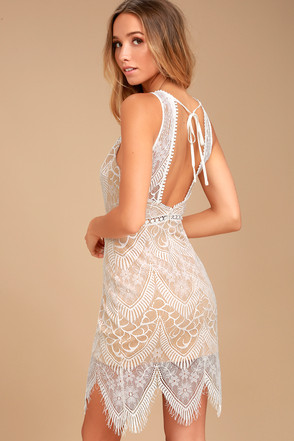 29a0dfce0e3 Lovely White Lace Dress - White and Nude Lace Dress - Bodycon Dress