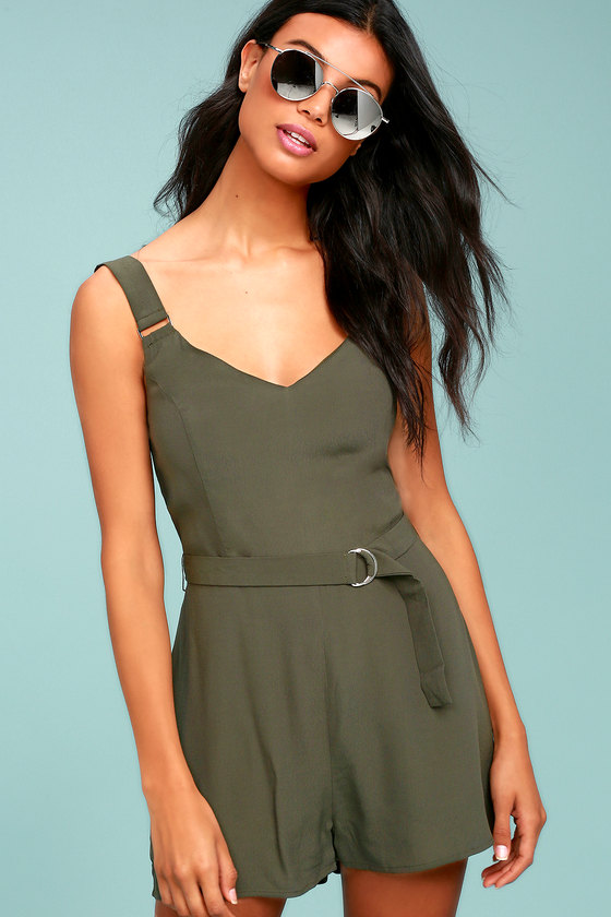 Sunny Melody Olive Green Romper 2