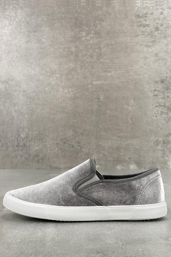 Reeza Grey Velvet Slip-On Sneakers 1