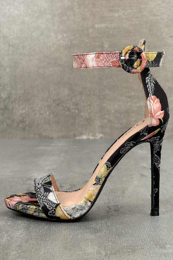 Olivia Jaymes Philomena Black Floral Satin Brocade Ankle Strap Heels