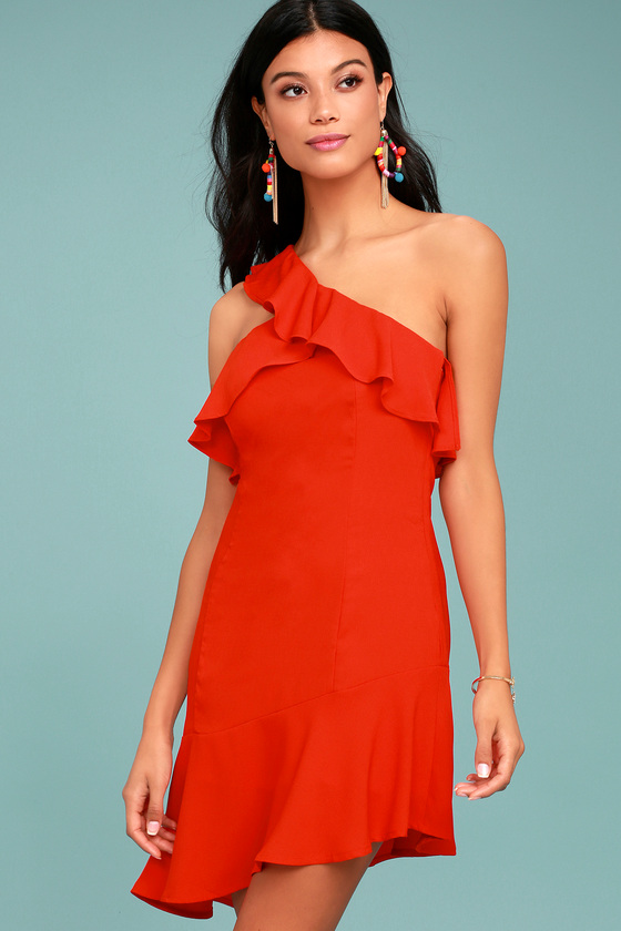 Beautiful View Red One-Shoulder Dress 2