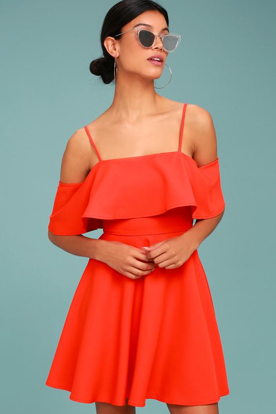 Waterfront Red Off-the-Shoulder Skater Dress 2