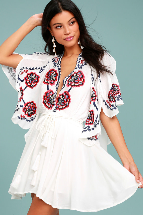 Free People Cora White Embroidered Dress 2