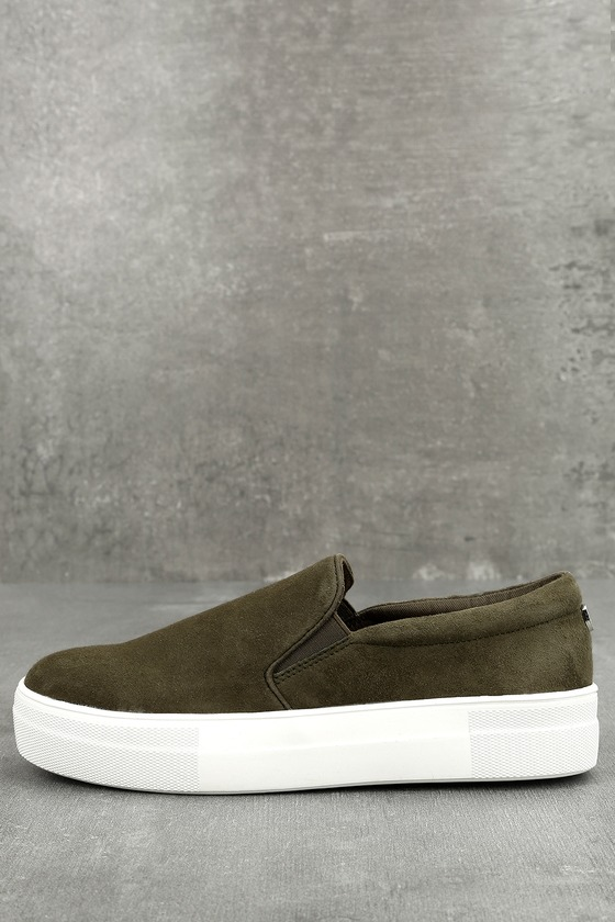 ee04887730a8 Steve Madden Gills Sneakers - Olive Suede Sneakers - Leather Flatform  Sneakers