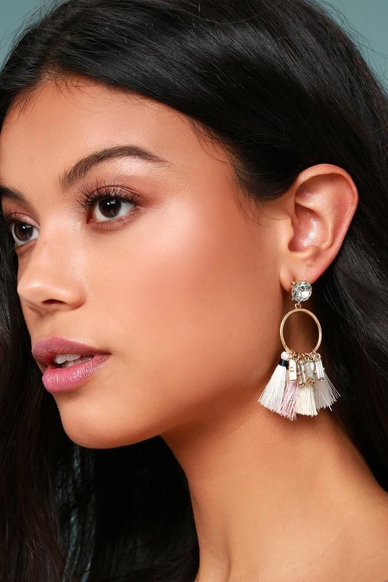 Venetian Moon Gold Rhinestone Tassel Earrings 3
