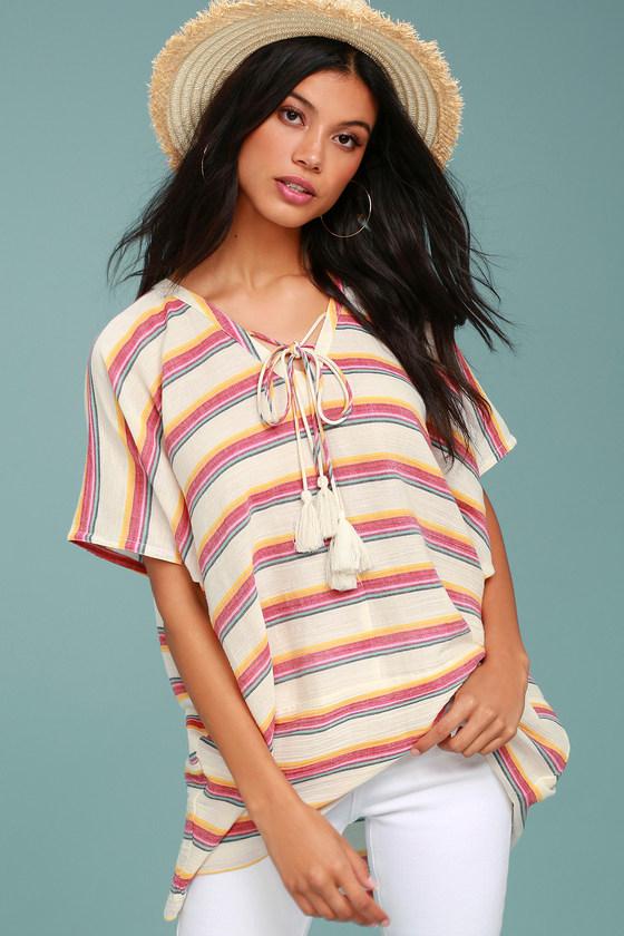 At Sunset Cream Striped Boho Poncho Top – Mod and Retro ...