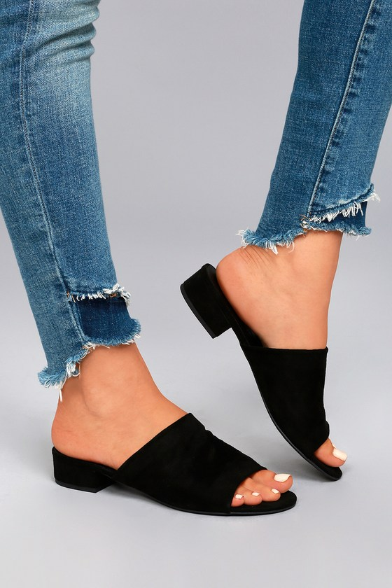 Chic Black Mules Vegan Suede Mules Black Sandals