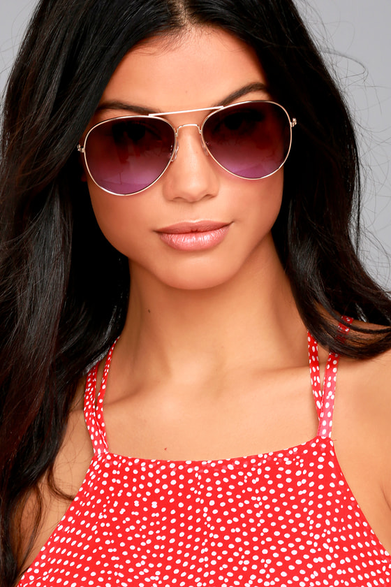 Afternoon Attraction Gold and Purple Aviator Sunglasses 3