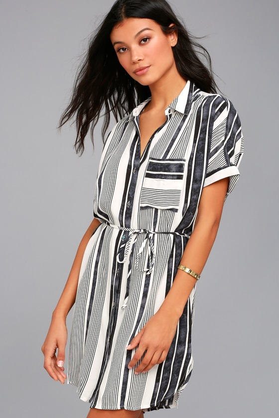 East End Black and White Striped Shirt Dress 2
