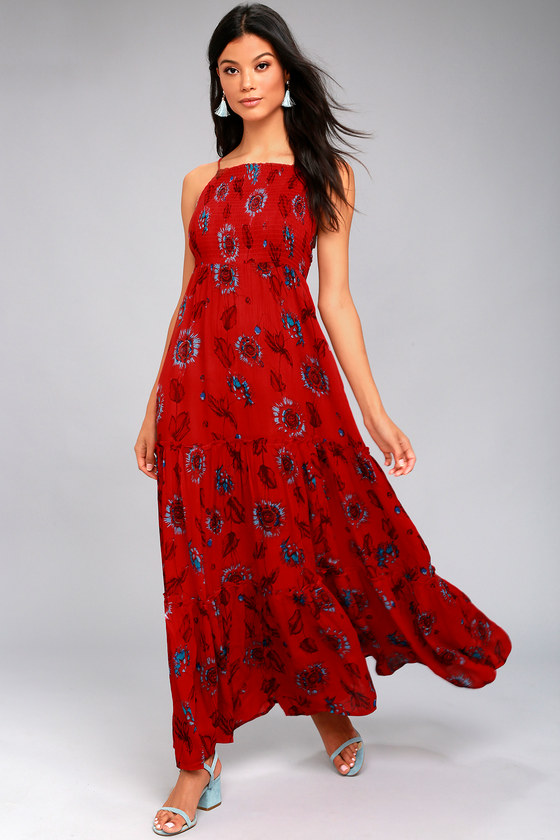 Free People Garden Party Dress Red Floral Print Maxi Dress Tiered Maxi Dress
