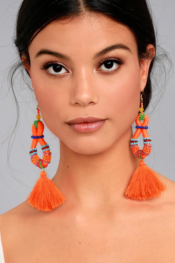 Festivity Orange Beaded Tassel Earrings 2
