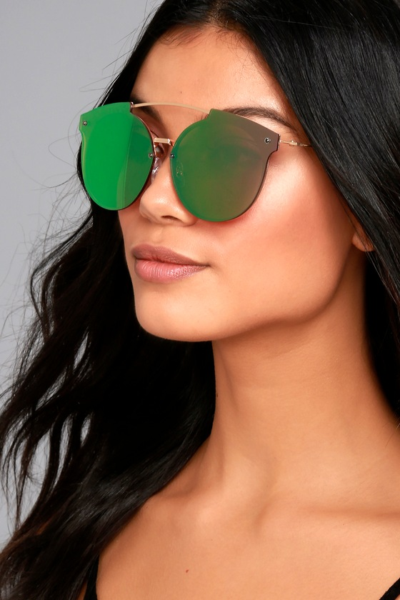 Now or Never Gold and Pink Mirrored Sunglasses 3