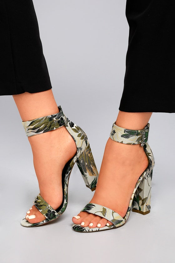 Angeline Green Multi Floral Brocade Ankle Strap Heels 4