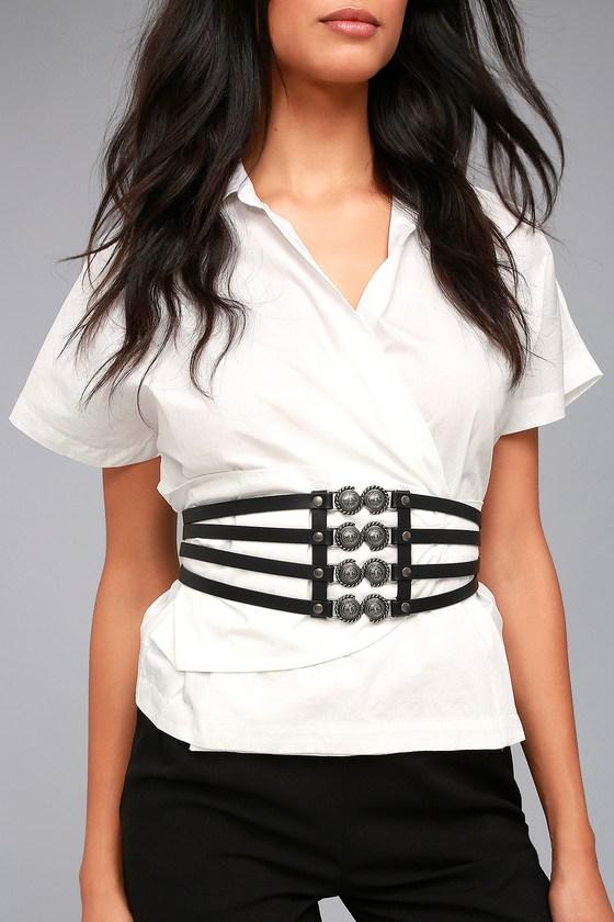 Presido Leather Corset Belt in Black - Black Lovestrength GpF63Vhy