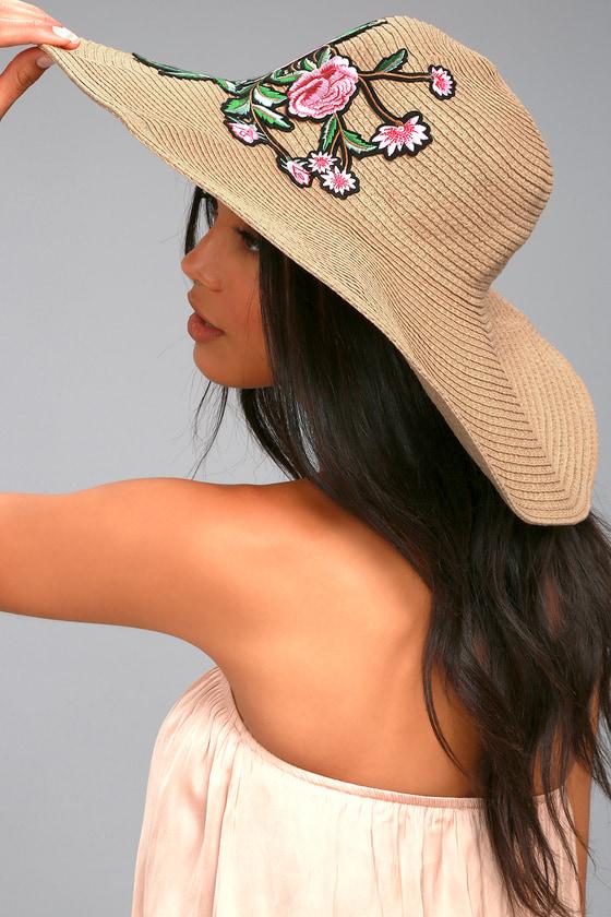 3495e5fa3ad1d Trendy Floppy Sunhat - Tan Sunhat - Embroidered Sunhat - Straw Hat